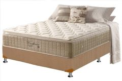 Conjunto Cama Box - Colchão Anjos de Molas Pocket Confiance Visco Pillow Top + Cama Box Universal Nobuck Bege Crema
